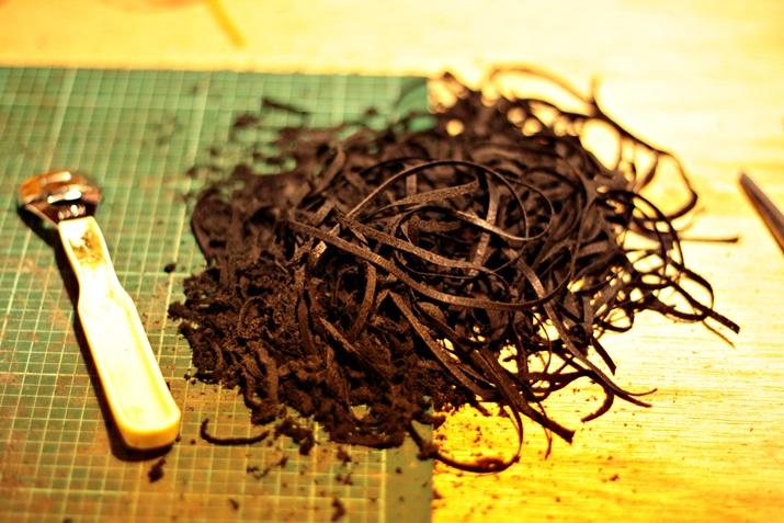 鹿革 漉き